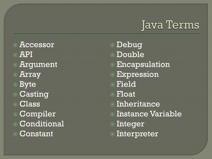 Java Terms