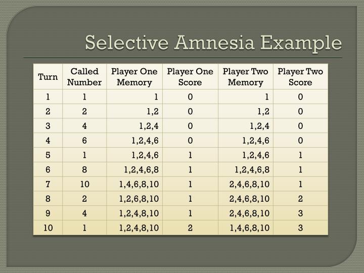 Selective Amnesia Example
