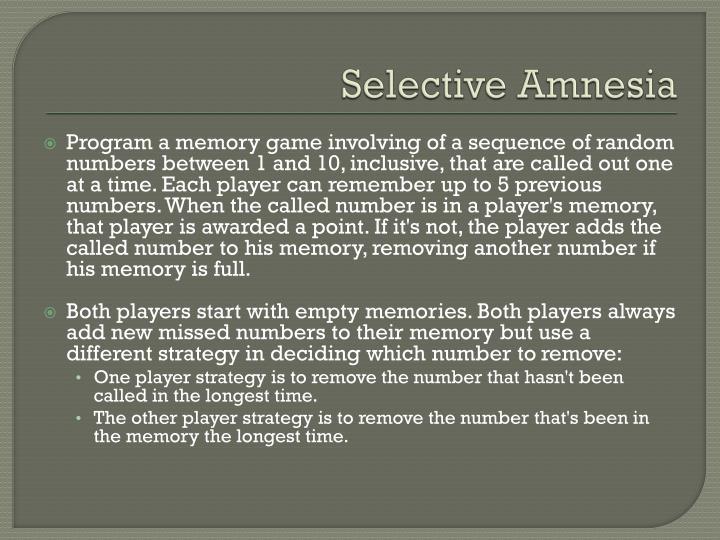 Selective Amnesia