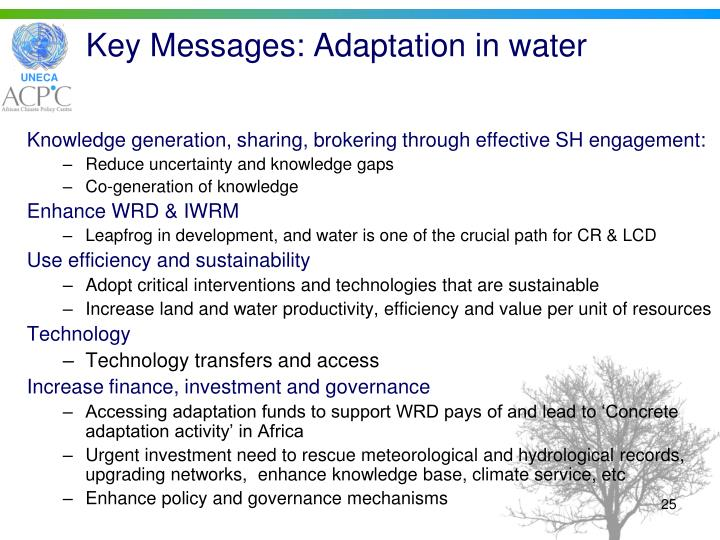 Key Messages: Adaptation in water