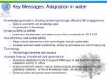 key messages adaptation in water