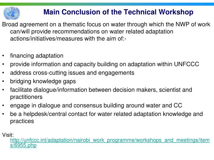 Main Conclusion of the Technical Workshop
