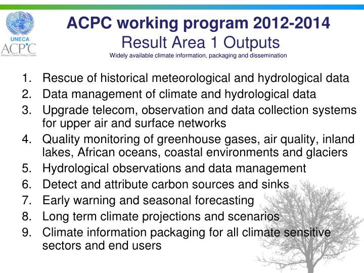ACPC working program 2012-2014