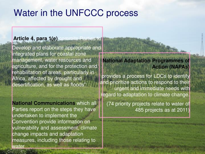 Water in the UNFCCC process