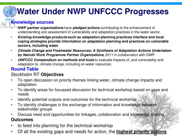 Water Under NWP UNFCCC Progresses