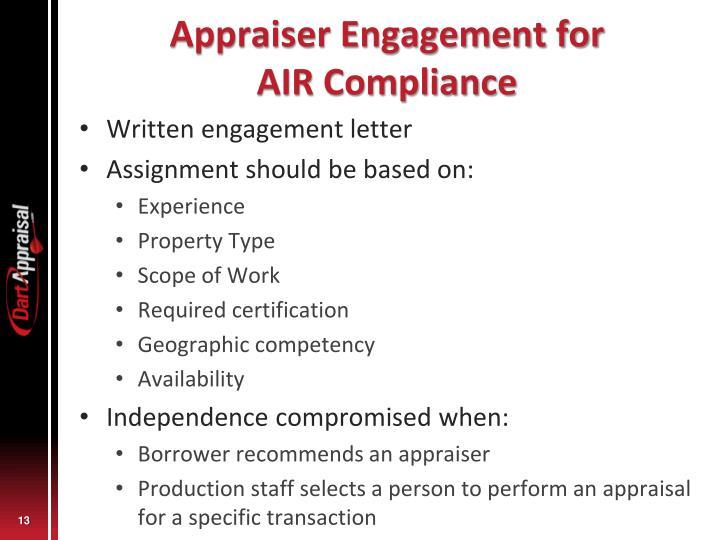 Appraiser Engagement for