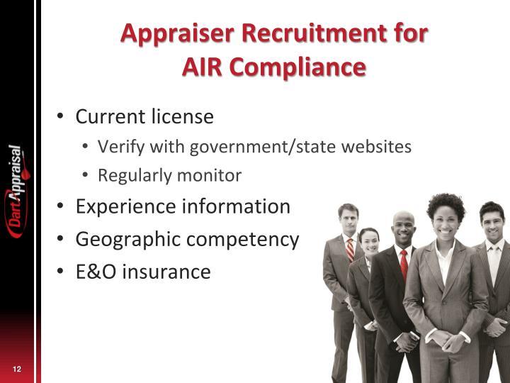 Appraiser Recruitment for