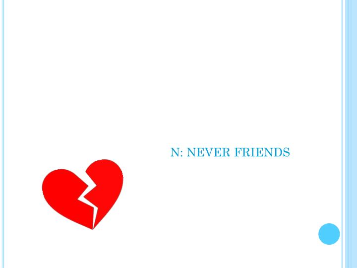 N: NEVER FRIENDS