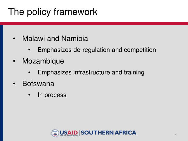 The policy framework