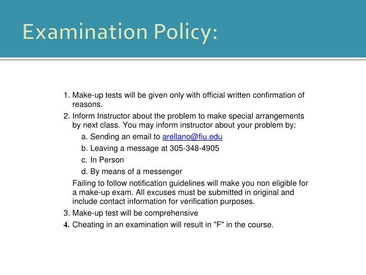 Examination Policy:
