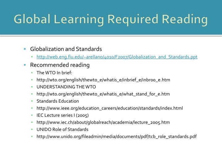 Global Learning Required Reading