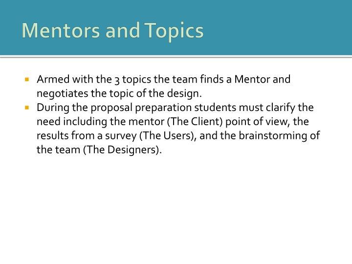 Mentors and Topics