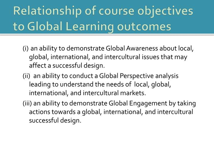 Relationship of course objectives to Global Learning outcomes