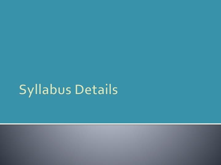 Syllabus Details