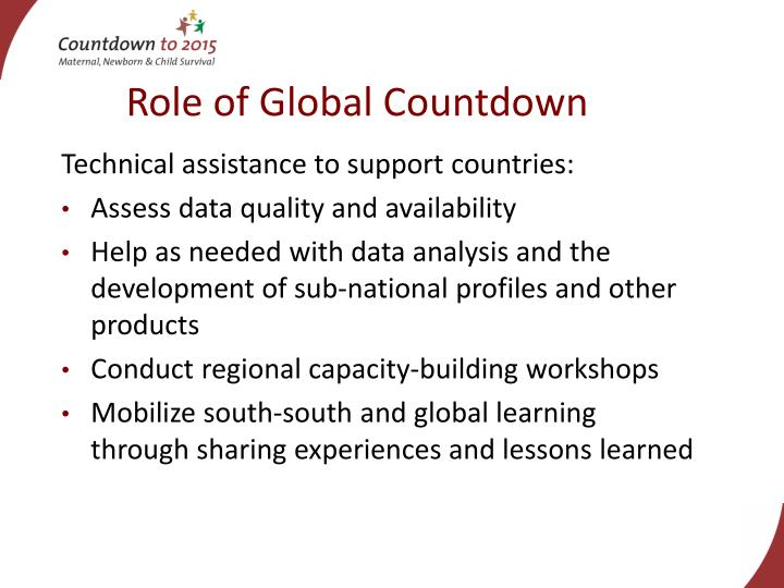 Role of Global Countdown