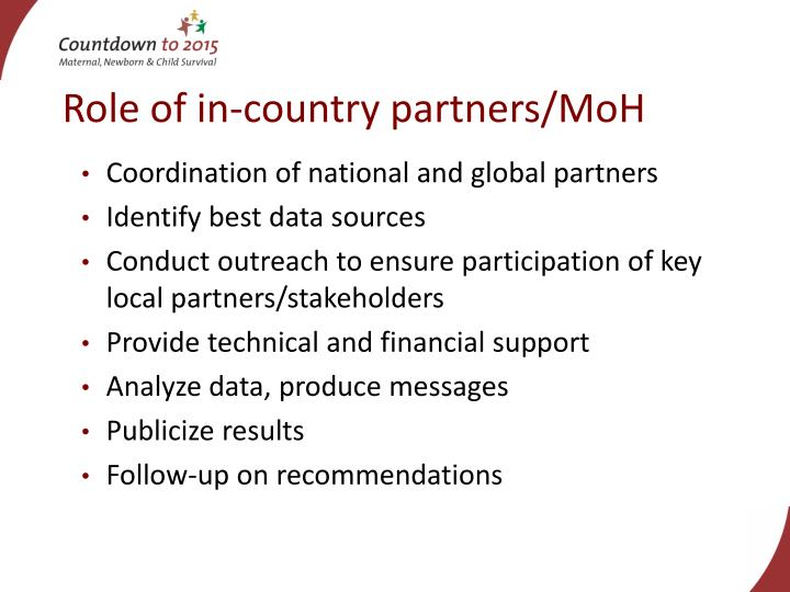 Role of in-country partners/MoH