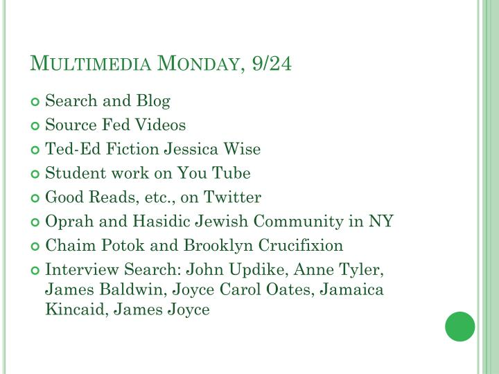 Multimedia monday 9 24