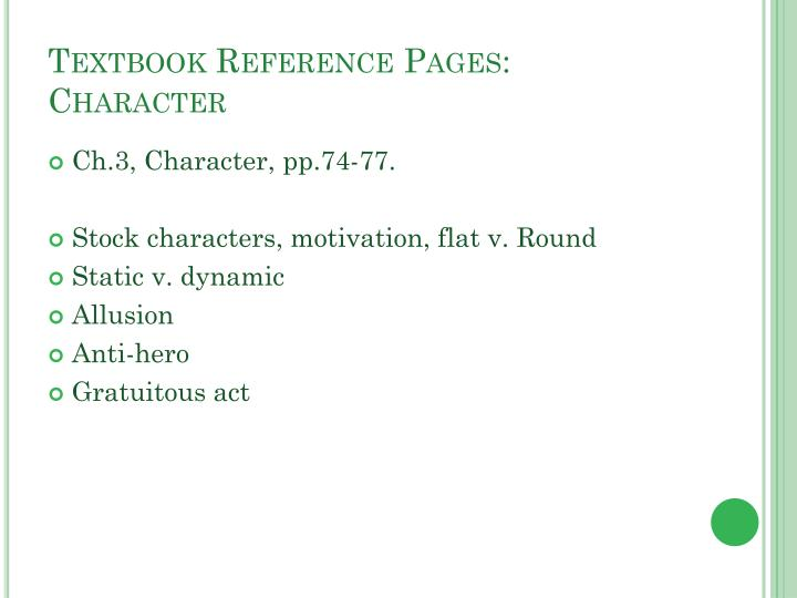 Textbook Reference Pages: Character