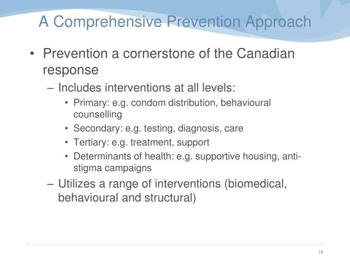 A Comprehensive Prevention Approach