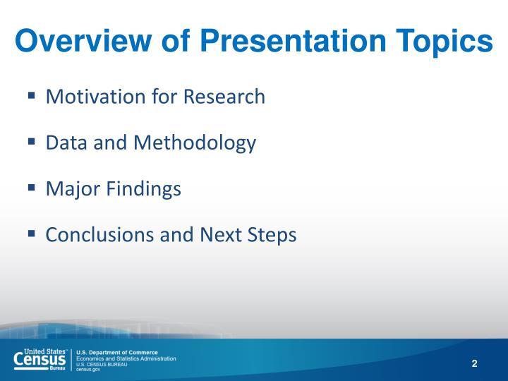 Overview of Presentation Topics