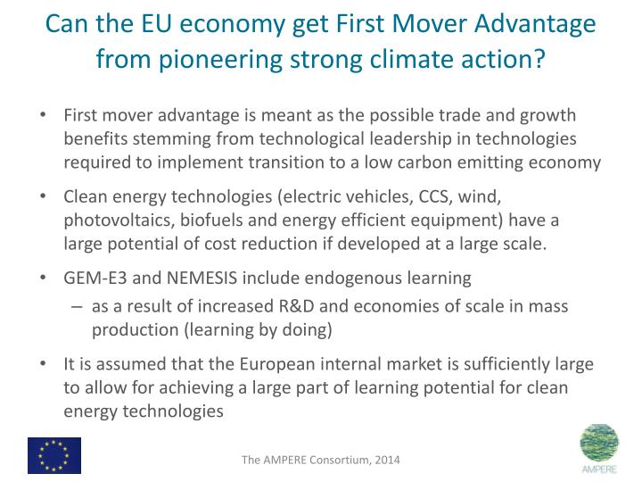 Can the EU economy get First Mover Advantage from pioneering strong climate action?