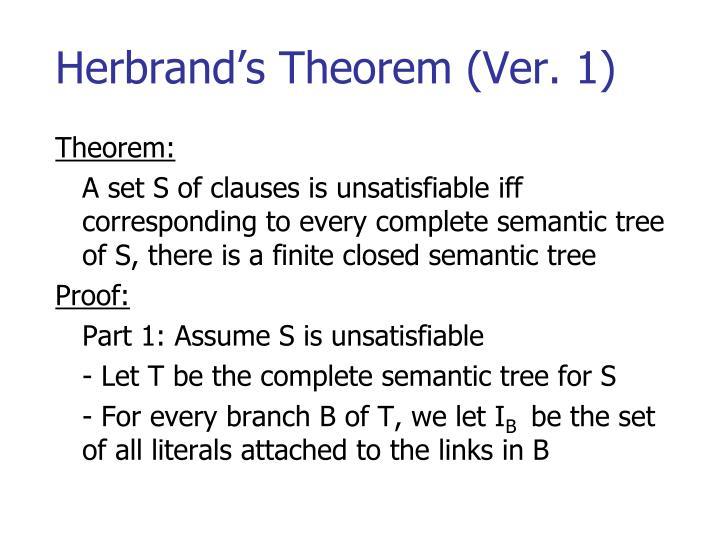 Herbrand's Theorem (Ver. 1)