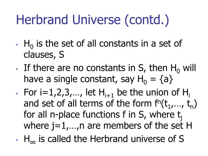 Herbrand Universe (contd.)