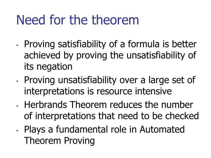 Need for the theorem