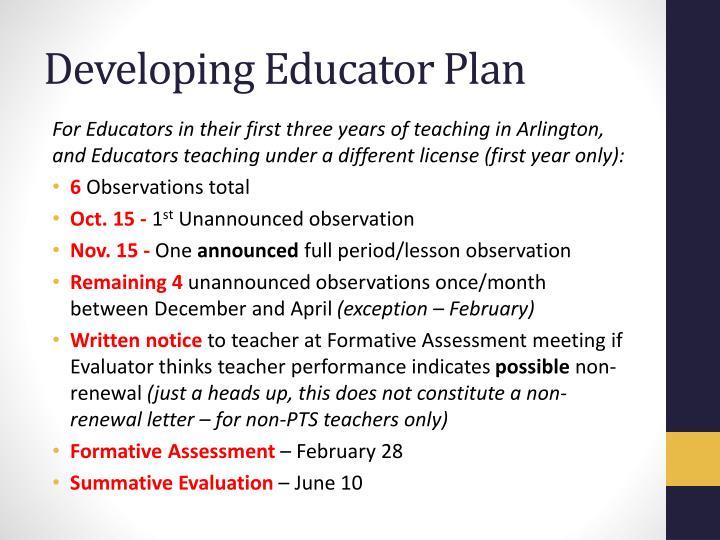 Developing Educator Plan