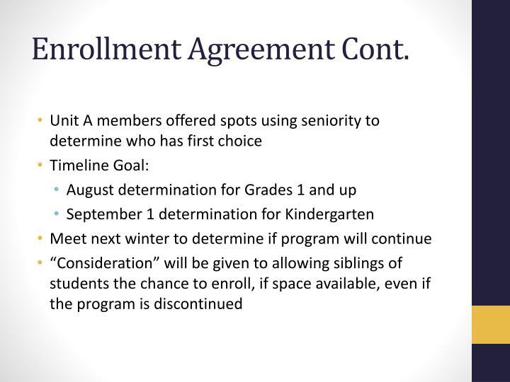 Enrollment Agreement Cont.