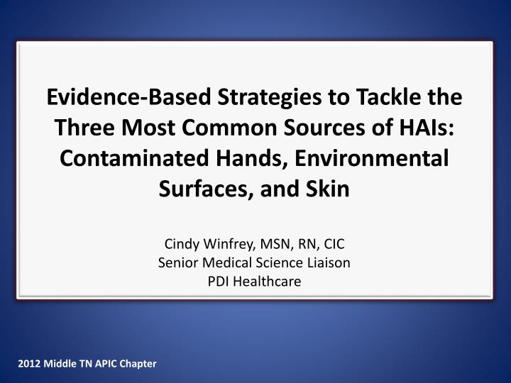 Evidence-Based Strategies to Tackle the Three Most Common Sources of HAIs: Contaminated Hands, Envir...