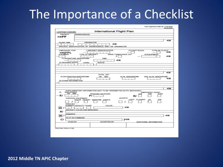The Importance of a Checklist