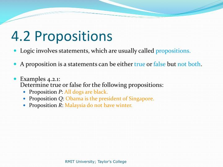 4.2 Propositions