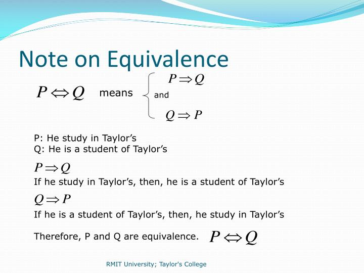 Note on Equivalence
