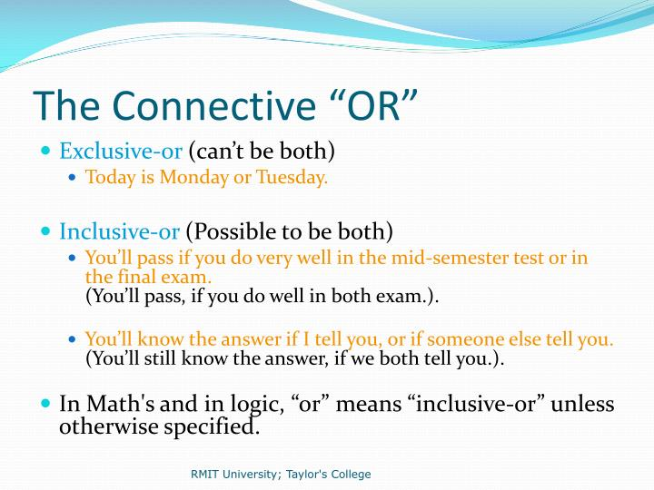 """The Connective """"OR"""""""
