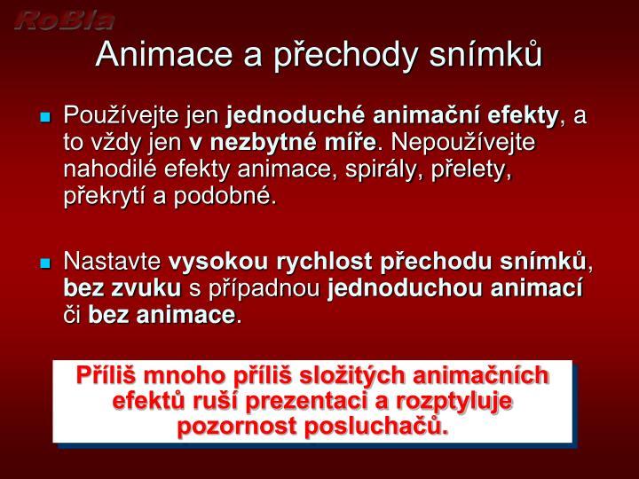 Animace a přechody snímků