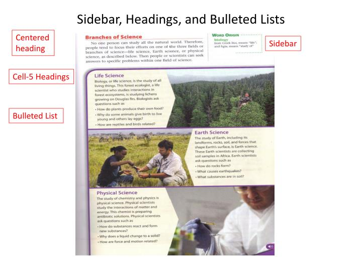 Sidebar, Headings, and Bulleted Lists