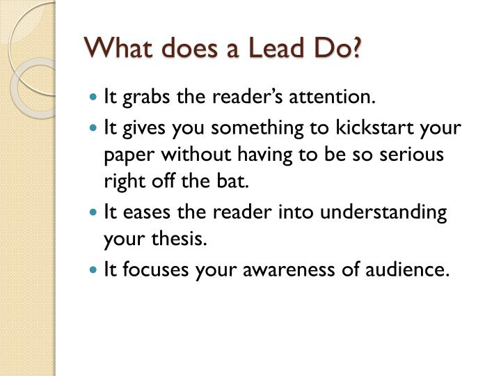 What does a Lead Do?