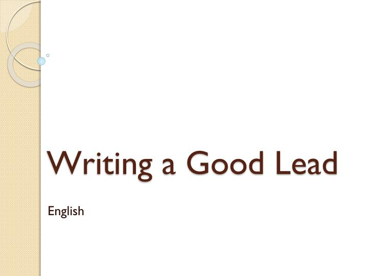 writing a good lead