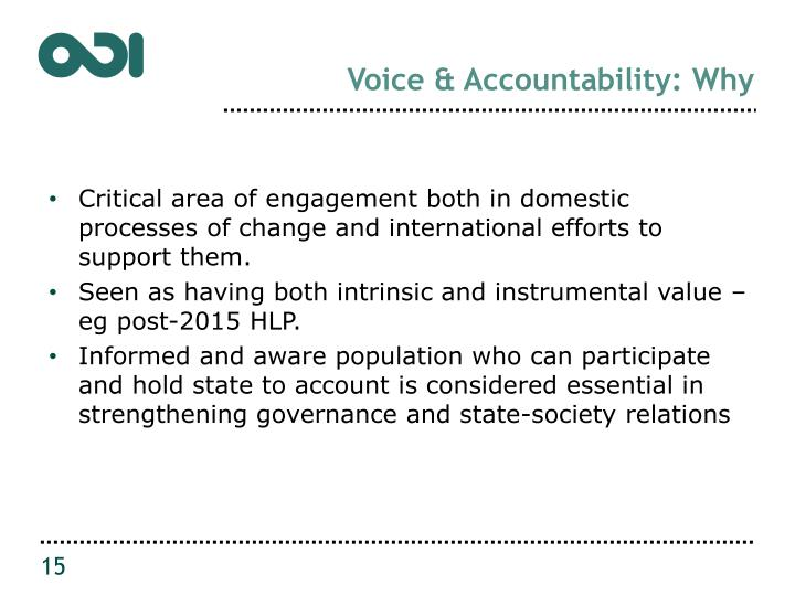Voice & Accountability: Why
