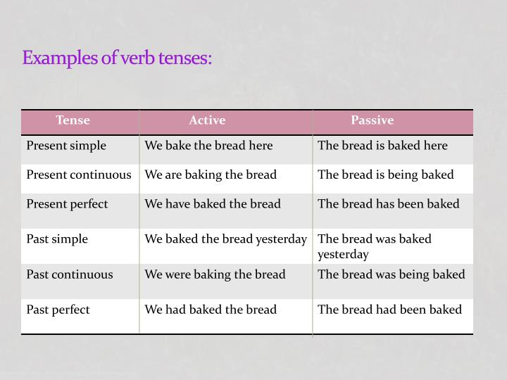 Examples of verb tenses: