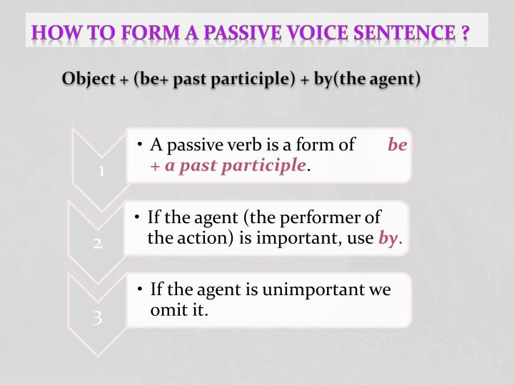 How to form a passive voice sentence ?