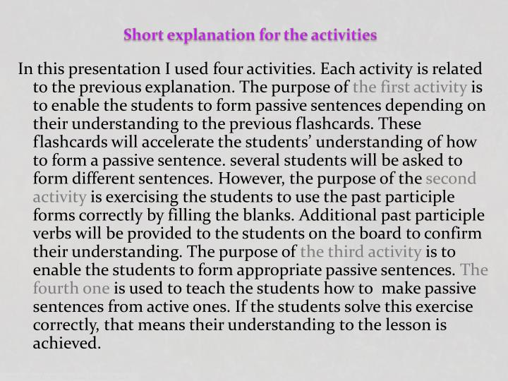 Short explanation for the activities