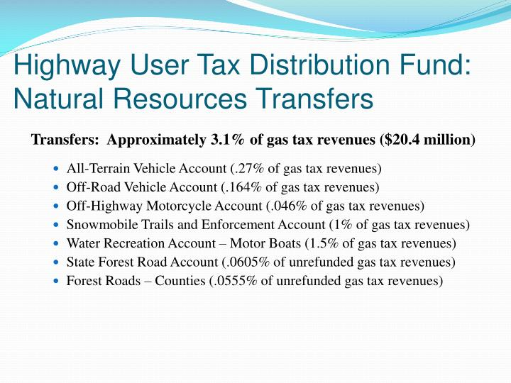 Highway User Tax Distribution Fund:  Natural Resources Transfers