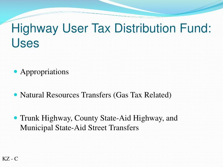 highway user tax distribution fund uses
