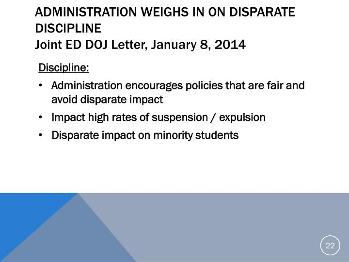 Administration Weighs in on Disparate Discipline