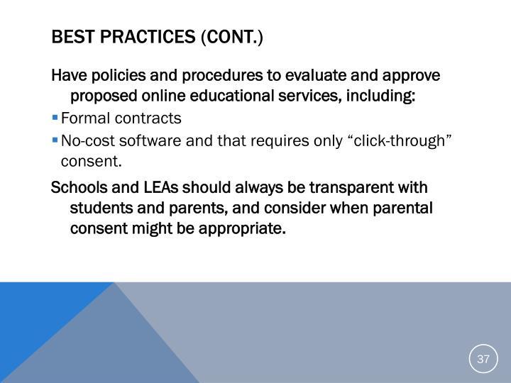 Best Practices (cont.)