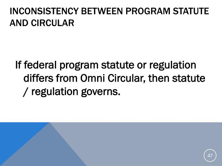 Inconsistency Between Program Statute and Circular