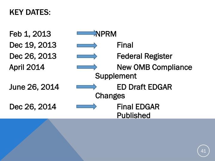 Key Dates: