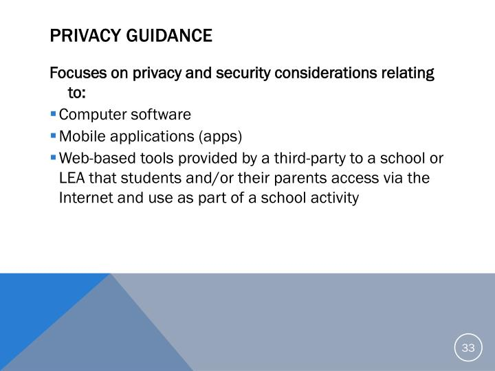 Privacy Guidance